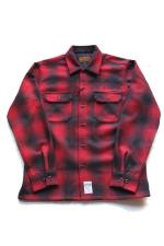 "KUSTOMSTYLE  ""NORM LOGO II"" CHECK LS SHIRTS 【RED】"