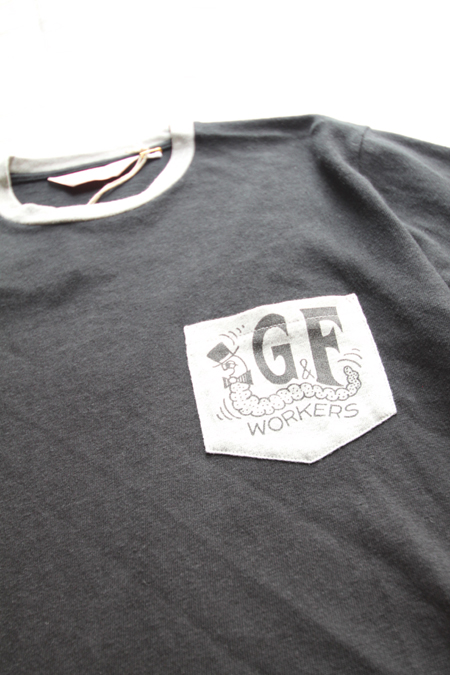"G&F WORKERS ""GREEN CATERPILLAR""T-SHIRTS 【BKxGY】"